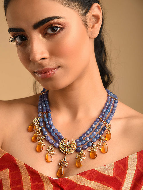 Blue Yellow Gold Plated Kundan Necklace With Topaz