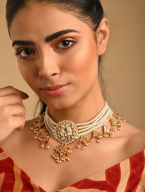 White Gold Plated Kundan Beaded Necklace