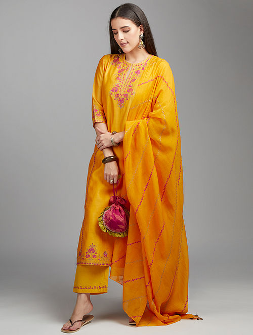 Mango Yellow Embroidered Cotton Chanderi Dupatta with Zari Tassels