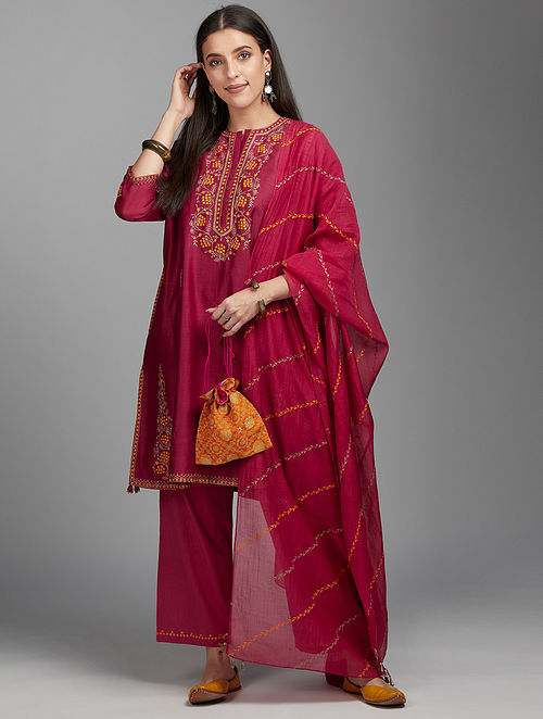 Deep Wine Embroidered Silk Chanderi Kurta