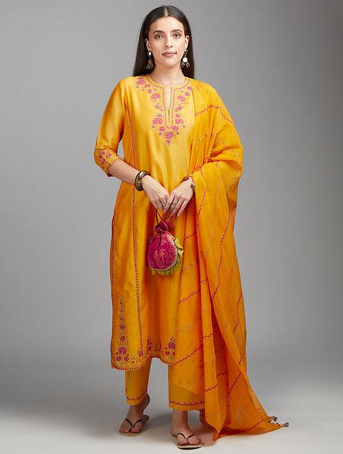 Mango Yellow Embroidered Silk Chanderi Kurta