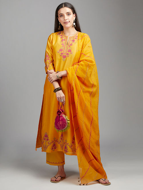 Mango Yellow Embroidered Silk Chanderi Kurta