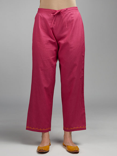 Deep Wine Embroidered Cotton Pants