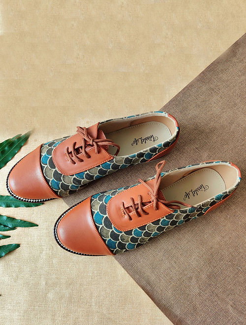 Multicolored Handcrafted Ajrakh Faux Leather Shoes
