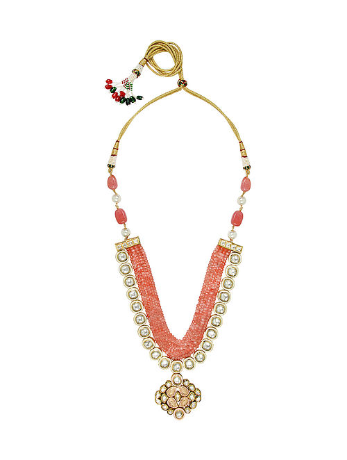 Peach White Gold Tone Kundan Necklace With Earrings