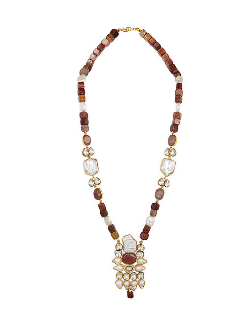Brown Gold Tone Kundan Beaded Necklace With Earrings