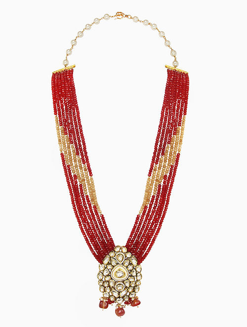 Red Gold Tone Beaded Kundan Necklace with Jhumki Earrings