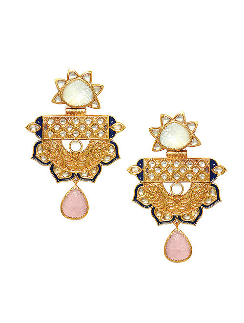 Pink Blue Gold Tone Kundan Earrings