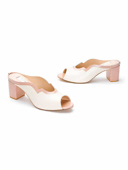 White Handcrafted Genuine Leather Block Heels