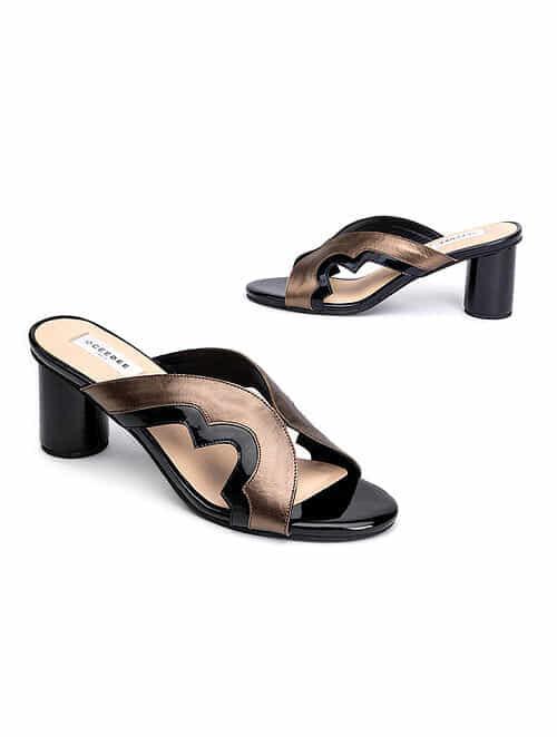 Bronze Black Handcrafted Genuine Leather Block Heels