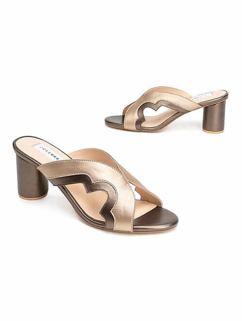 Gold Silver Handcrafted Genuine Leather Block Heels