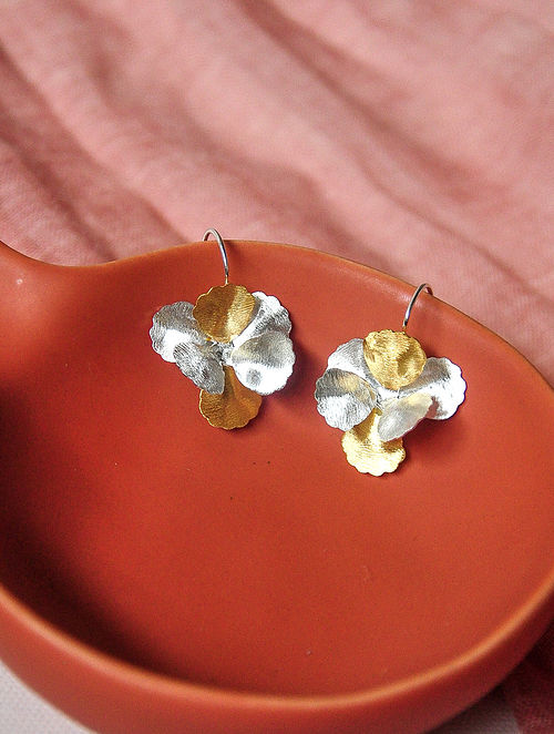 Dual Tone Silver Earrings