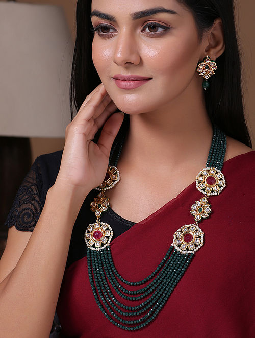 Green Red Gold Tone Beaded Kundan Necklace With Earrings