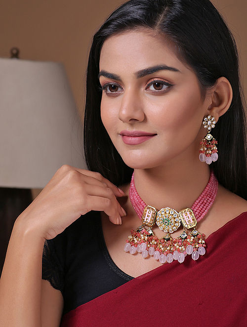 Pink Gold Tone Beaded Kundan Necklace With Earrings