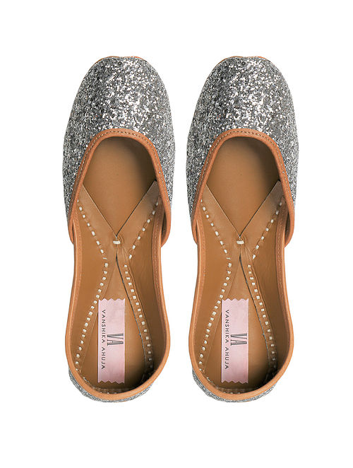 Silver Glitter Handcrafted Genuine Leather Juttis