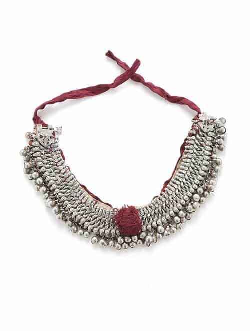 Maroon Green Silver Tone Tribal Necklace