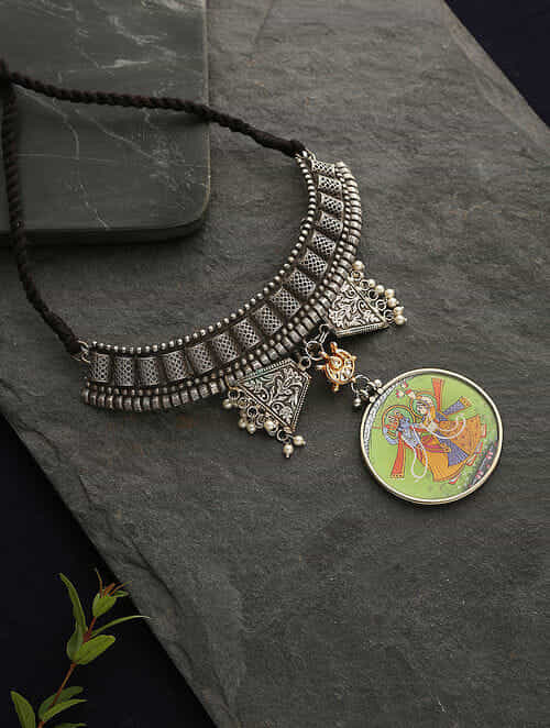 Multicolor Silver Tone Tribal Necklace