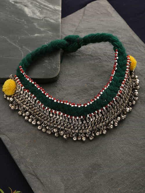 Green Yellow Silver Tone Tribal Necklace