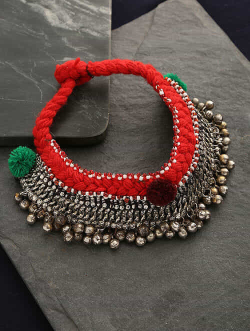Red Green Silver Tone Tribal Necklace