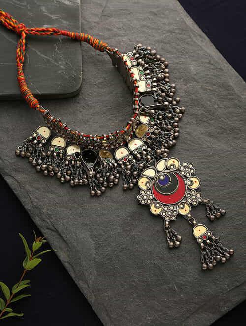 Multicolored Glass Silver Tone Tribal Necklace