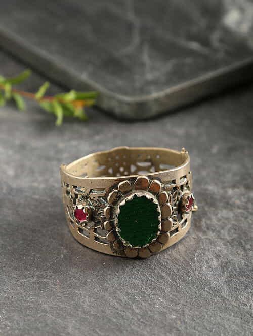Green Gold Tone Tribal Bangle