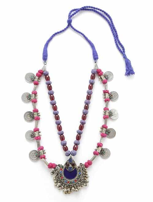 Blue Red Silver Tone Tribal Necklace
