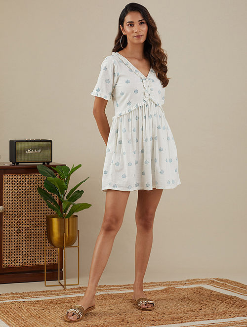 White Teal Blue Block Printed Slub Cotton Dress with Lace Detailings
