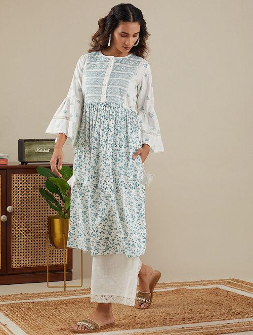 White Teal Blue Block Printed Slub Cotton Kurta with Lace Detailings