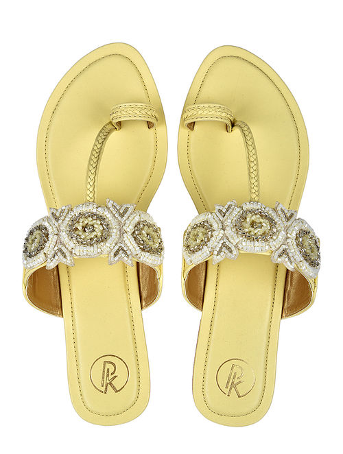 Yellow White Handcrafted Faux Leather Kolhapuri Flats