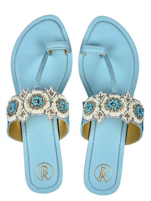 Blue White Handcrafted Faux Leather Kolhapuri Flats