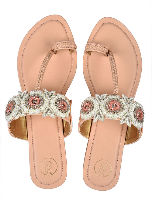 Peach White Handcrafted Faux Leather Kolhapuri Flats