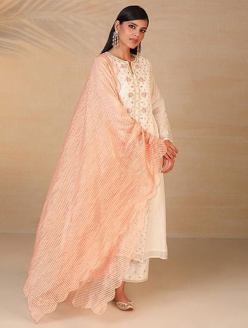 Peach Zari Trimmed Chanderi Tissue Dupatta with Scallop Details