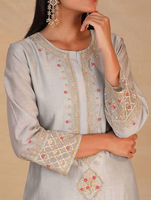Grey Hand Embroidered Silk Chanderi Kurta