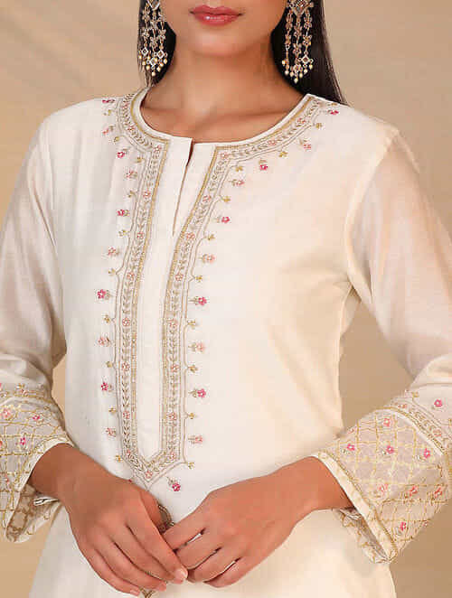 Ivory Hand Embroidered Silk Chanderi Kurta