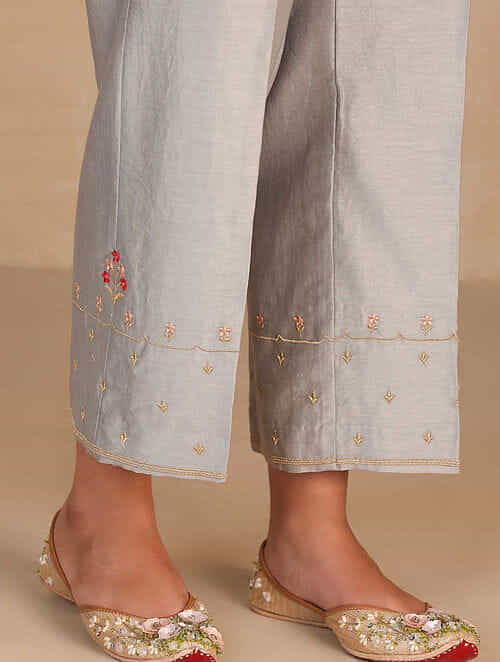 Grey Embroidered Silk Chanderi Palazzos