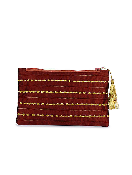 Red Hand Embroidered Satin Pouch