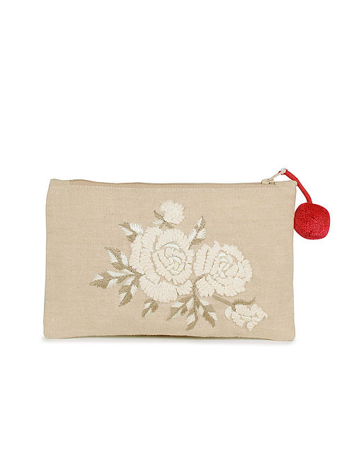 Beige White Hand Embroidered Cotton Pouch