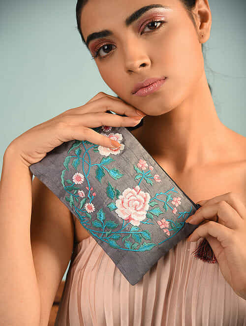 Multicolored Hand Embroidered Poly Dupion Silk Pouch