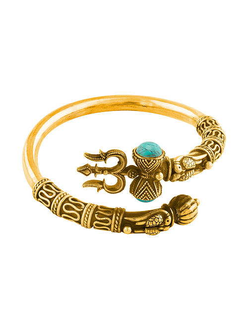 Blue Gold Plated Sterling Silver Bangle