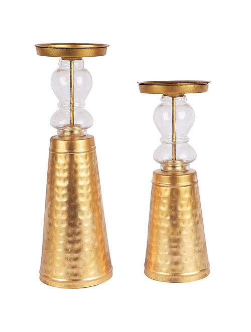 Hansa Iron And Glass Candle Stand (Set Of 2)