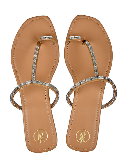 Silver Tan Handcrafted Faux Leather Kolhapuri Flats