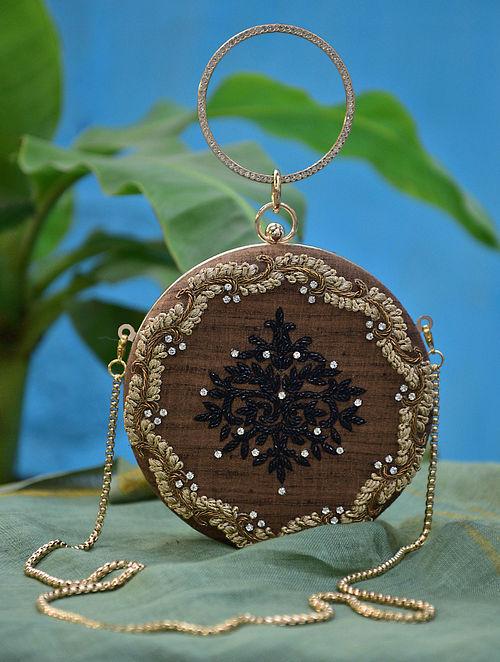 Brown Gold Hand Embroidered Silk Clutch