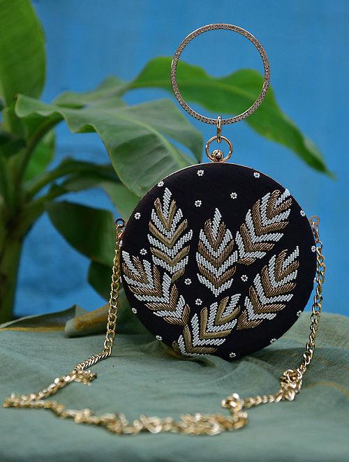 Black Gold Hand Embroidered Silk Clutch