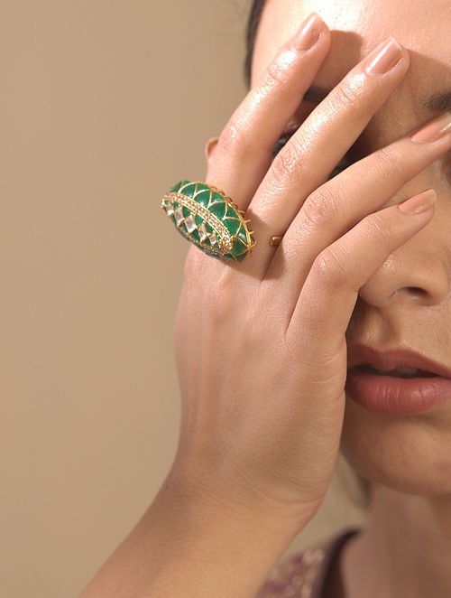 Green Gold Plated Silver Polki Ring
