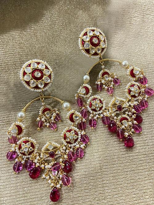 Maroon Gold Plated Silver Enameled Earrings