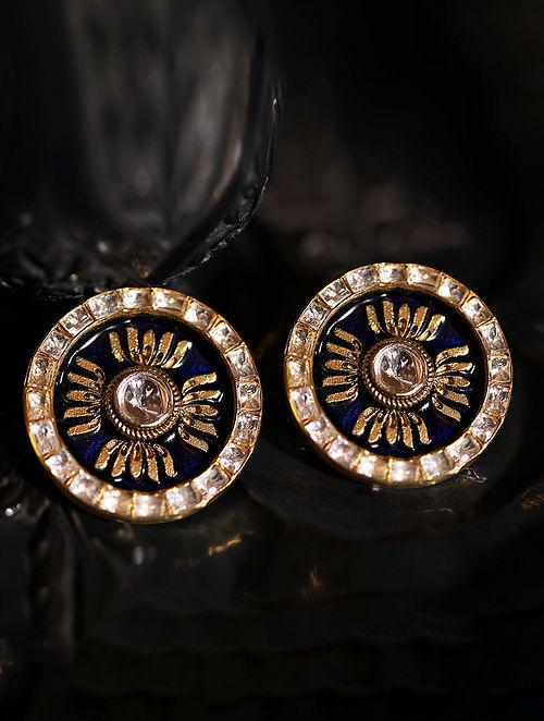 Blue Gold Plated Silver Polki Earrings