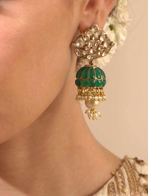 Green Gold Plated Silver Polki Earrings