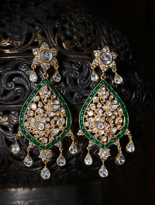 Green Gold Plated Silver Polki Earrings