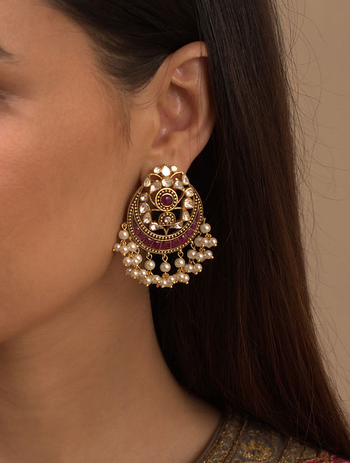 Red Gold Plated Silver Earrings With Fresh Water Pearls