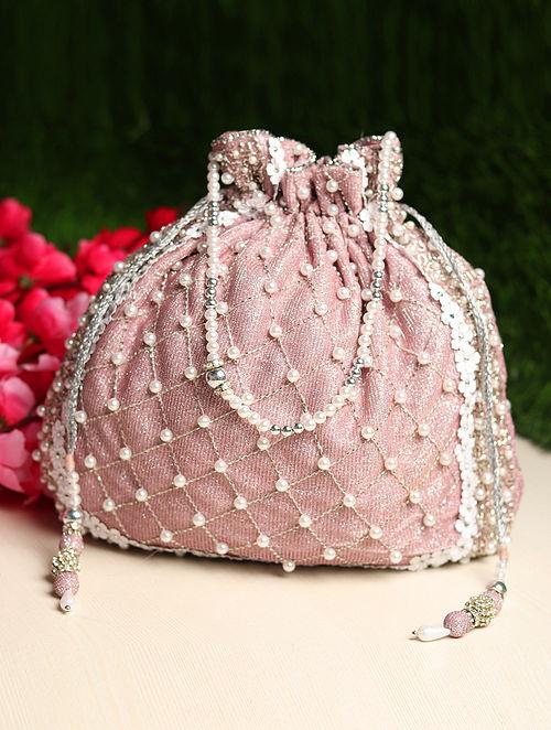 Pink Hand Embroidered Shimmer Potli